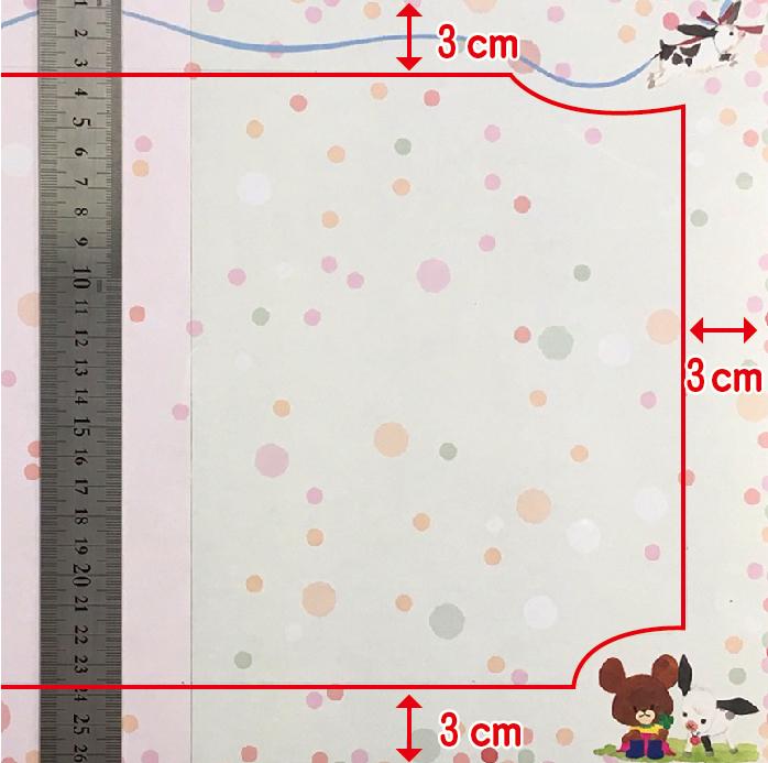 周囲外側から3センチ内側に線を書いたイメージ